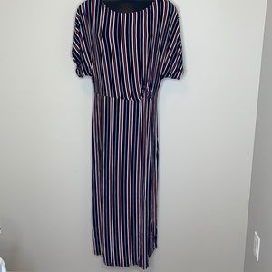 Michel Studio Collection navy striped knotted waist Roman sleeve maxi dress 1X